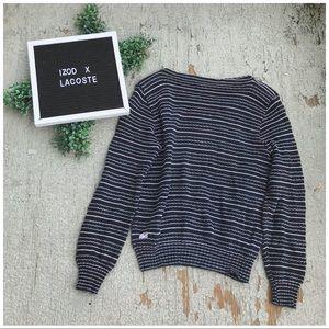 Izod Lacoste Vintage Stripe Boatneck Sweater